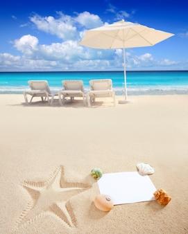 Coperture delle stelle marine dello spazio in bianco della copia in mare del mare caraibico della spiaggia