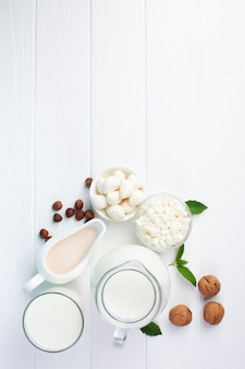 Copi lo spazio con i prodotti lattiero-caseari di mattina