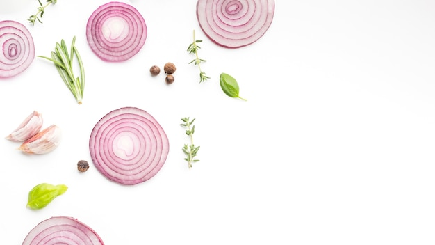 Copia-spazio anelli di cipolla con erbe