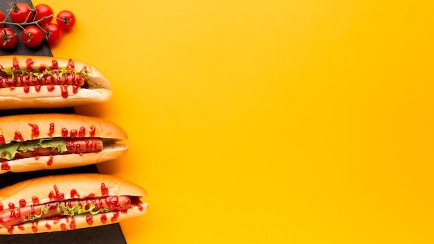 Copia spazio con hot dog e pomodori