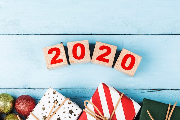 Copia spazio vuoto per iscrizione. idea di felice anno nuovo 2020 vacanze.
