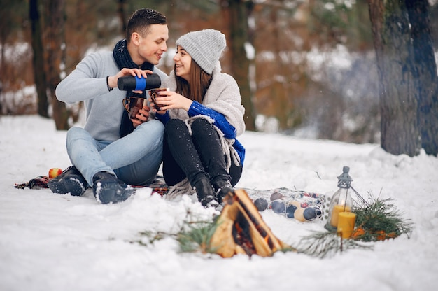 Coppia carina e amorevole in una foresta d'inverno