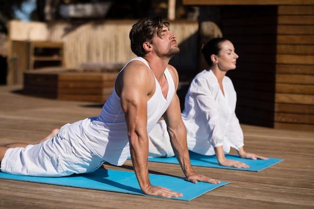 Coppia di eseguire yoga in vacanza safari