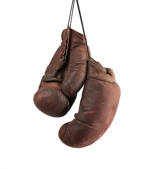 Coppia di guantoni da boxe in pelle marrone vintage molto vecchi