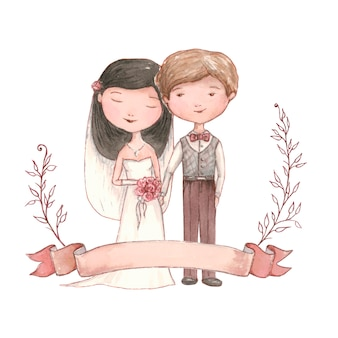Coppia di sposi felici che si sposano