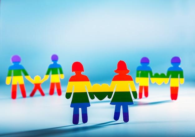 Coppia gay, persone, orgoglio gay, concetto omosessuale bandiera arcobaleno strisce sfondo