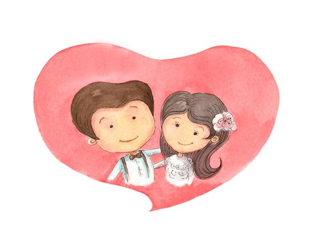 Coppia in amore contro un cuore rosso