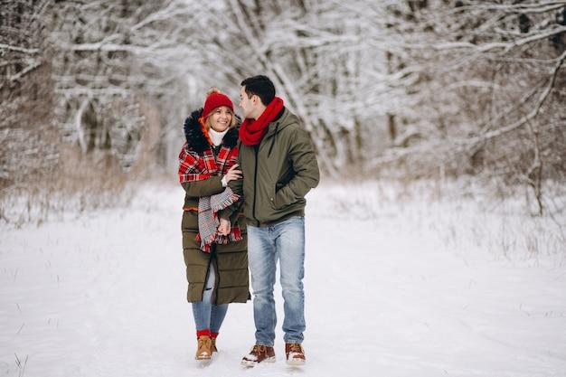 Coppia in inverno il giorno di san valentino