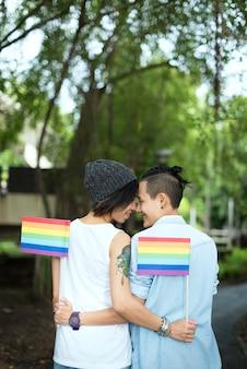 Coppia lesbica asiatica lgbt