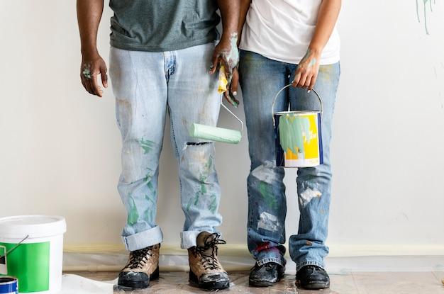 Coppia, pittura, casa, parete