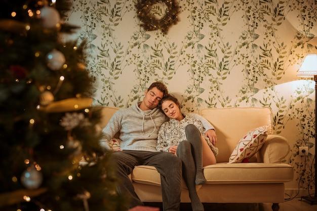 Coppia, rilassante, divano