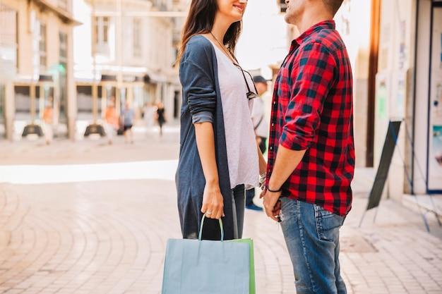 Coppia, sacchetto, shopping
