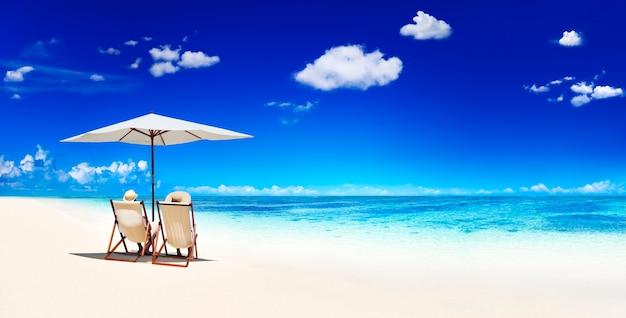 Coppia, seduta, spiaggia