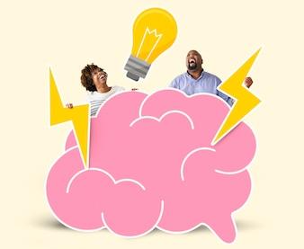 Coppie allegre con idee creative
