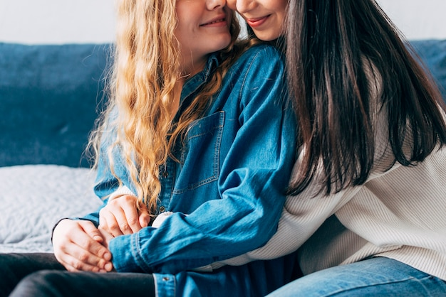 Coppie allegre dello stesso-sesso che abbracciano a casa