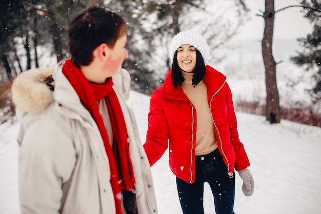 Coppie amorose che camminano in un parco di inverno