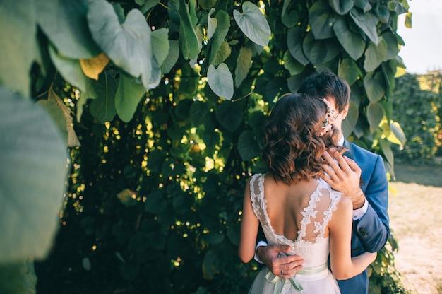 Coppie amorose che si tengono per mano con gli anelli contro il vestito da sposa