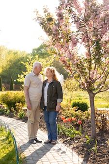 Coppie anziane che abbracciano nel parco di estate o di primavera
