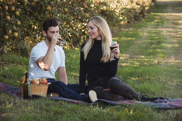 Coppie che mangiano vino nel meleto