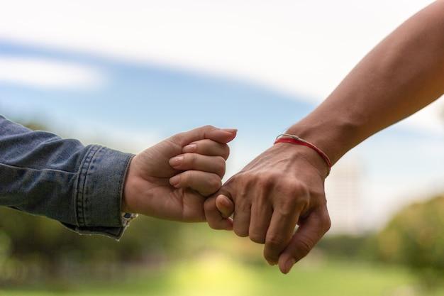 Coppie felici che si tengono per mano nel parco con la priorità bassa del cielo blu. concetto di amore