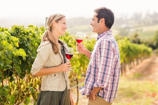 Coppie felici che tengono i bicchieri di vino