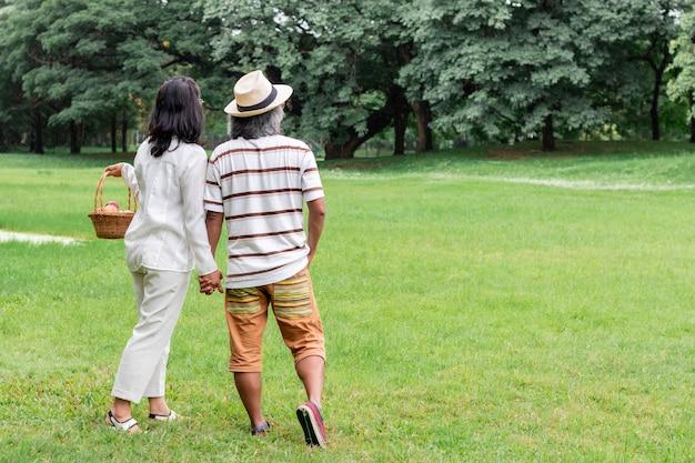 Coppie senior asiatiche con felicità di stile di vita del canestro di frutta in parco.