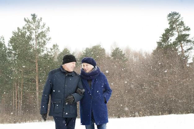 Coppie senior che camminano fuori nell'inverno