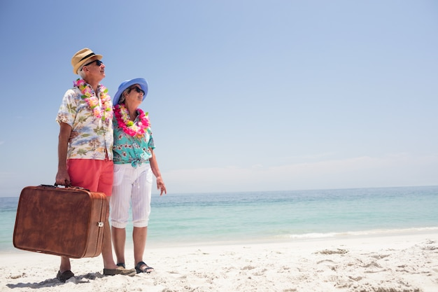 Coppie senior felici che stanno sulla spiaggia con la valigia