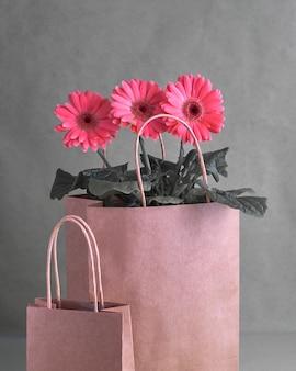 Coral gerbera margherita fiori e artigianato papper shopping bag su carta, copia-