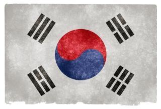 Corea del sud grunge bandiera blu