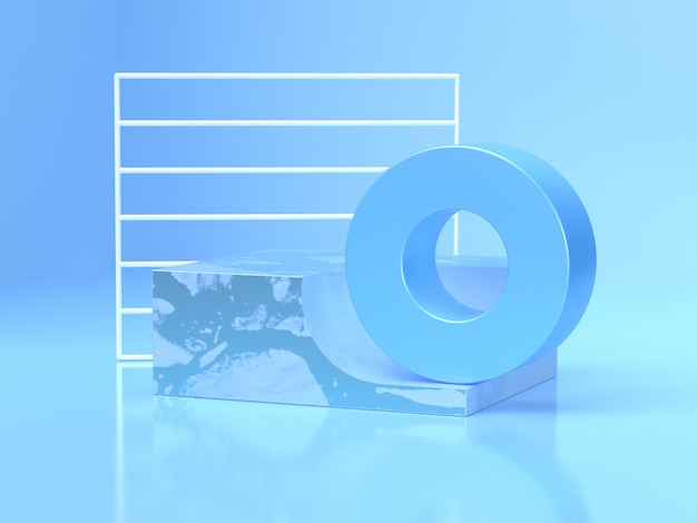 Cornice bianca forma circolare blu forma geometrica astratta rendering 3d scena