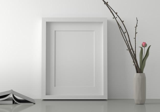 Cornice bianca vuota messa sul pavimento con i libri. rendering 3d.