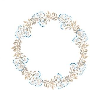 Cornice botanica acquerello con bacche blu e foglie d'oro.