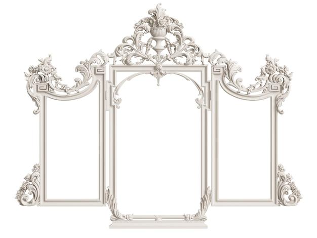 Cornice classica a specchio isolata. rendering 3d