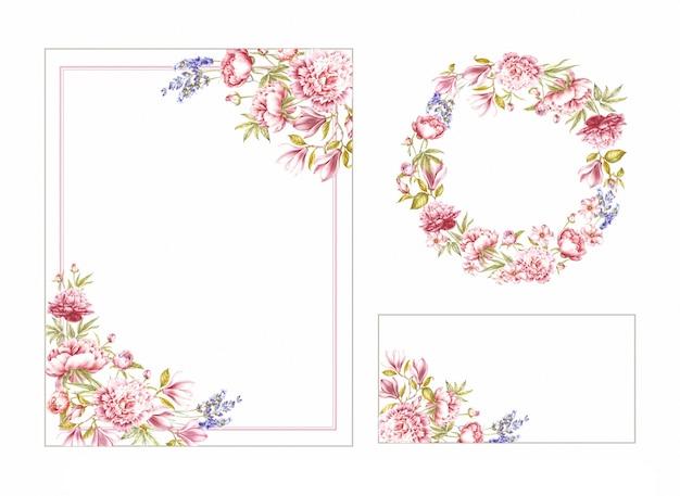 Cornice, corona e cartolina d'auguri di rose rosse