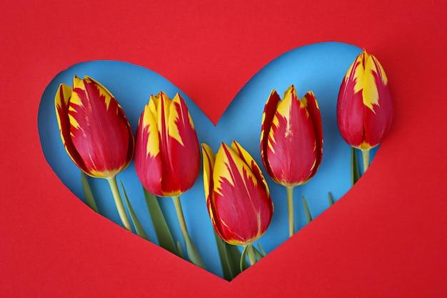 Cornice cuore con tulipani.
