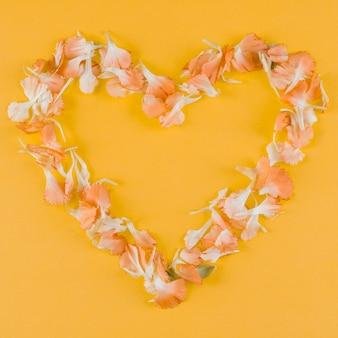 Cornice cuore petali vista dall'alto