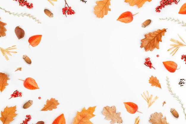 Cornice da foglie di autunno, ghiande, bacche su bianco