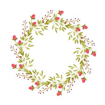 Cornice decorativa dell'acquerello ghirlanda per biglietto di auguri