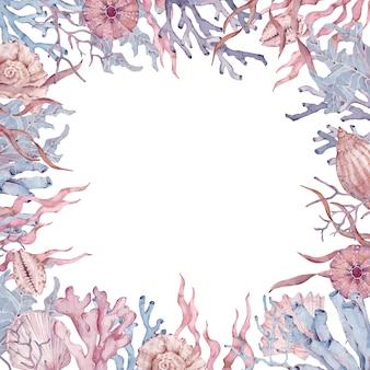 Cornice di alghe, coralli e conchiglie. illustrazione disegnata a mano dell'acquerello