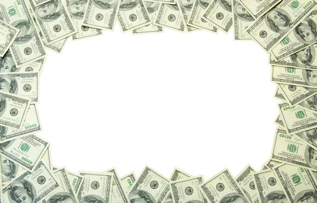 Cornice di banconote su bianco