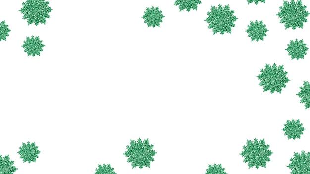 Cornice di fiocchi di neve verde lucido. sfondo di natale festivo. capodanno e vacanze invernali. copia spazio.