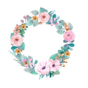 Cornice di fiori ad acquerello