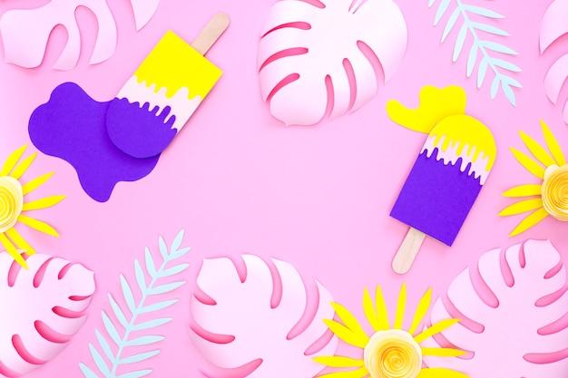 Cornice di fiori colorati con foglie e gelato