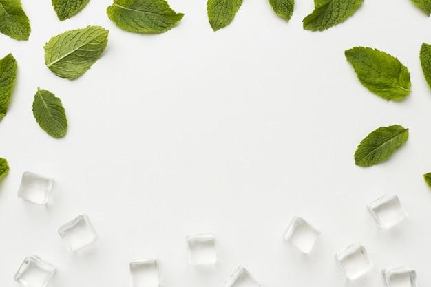 Cornice di foglie e cubetti di ghiaccio vista dall'alto