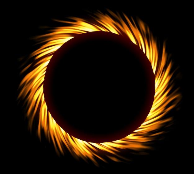 Cornice di fuoco rotondo. eclissi di fuoco o turbolenza