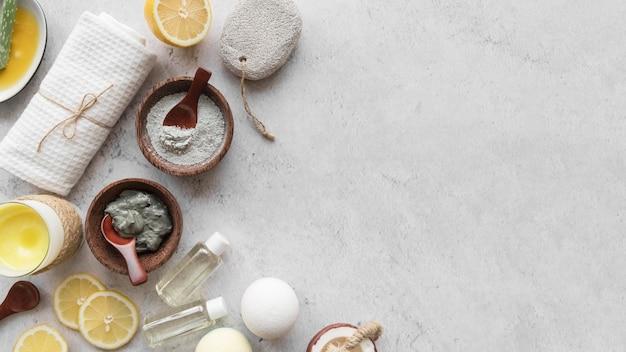Cornice di rimedi casalinghi piatti laici