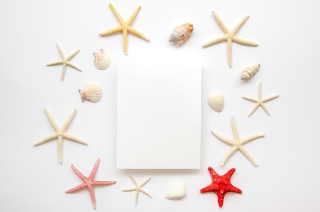 Cornice di stelle marine con foglio di carta bianco