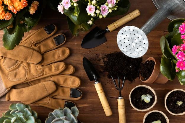Cornice di strumenti per il giardinaggio