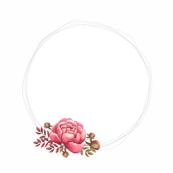 Cornice floreale con fiori di peonia acquerello, bocciolo e foglie dipinte a mano.